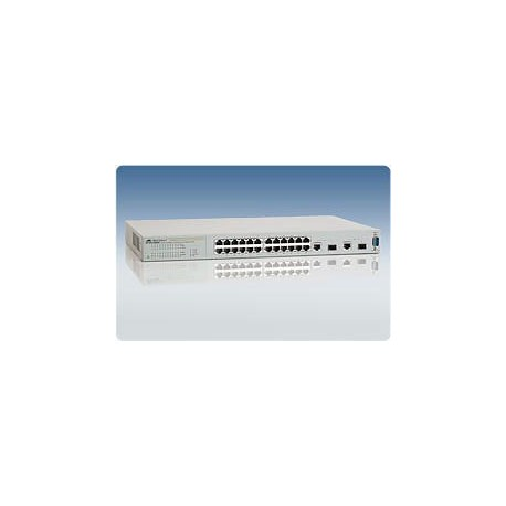 Switch cu 24 porturi x 10/100 Mbit/s, 2 x SFP,  2 x 10/100/1000, Web Management | PoE  Montabil in rack | Allied TELESYN
